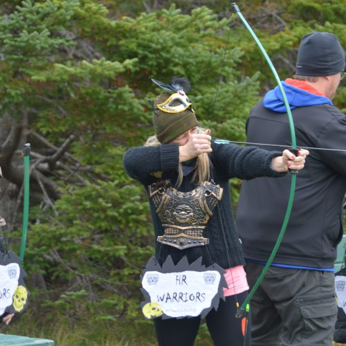 Participant playing archery.