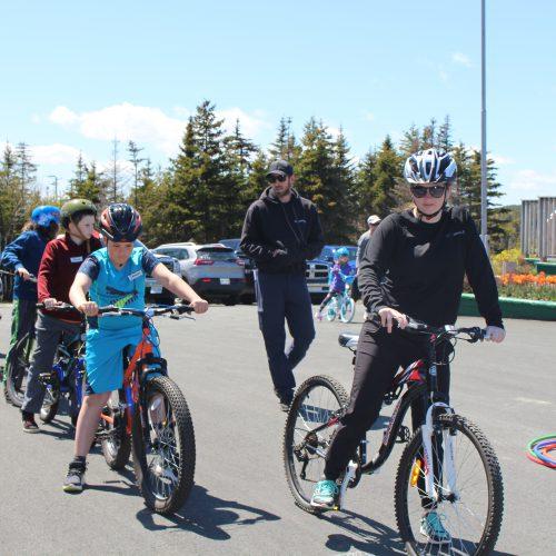 City of St. John's staff leading participants on bikes.